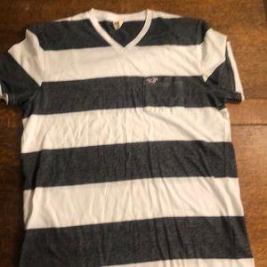 Hollister v neck striped shirt